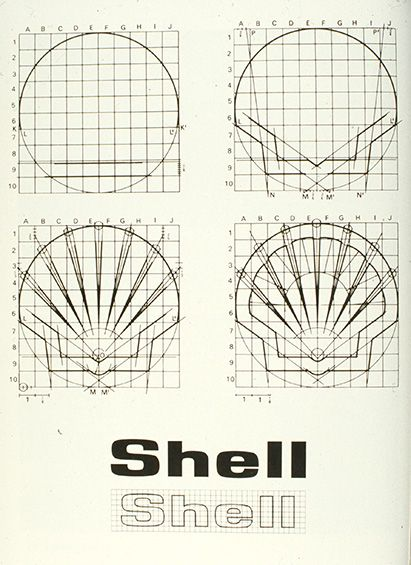 Shell logo, by Raymond Loewy (1962). Love seeing how the logo is built to be simple and elegant.