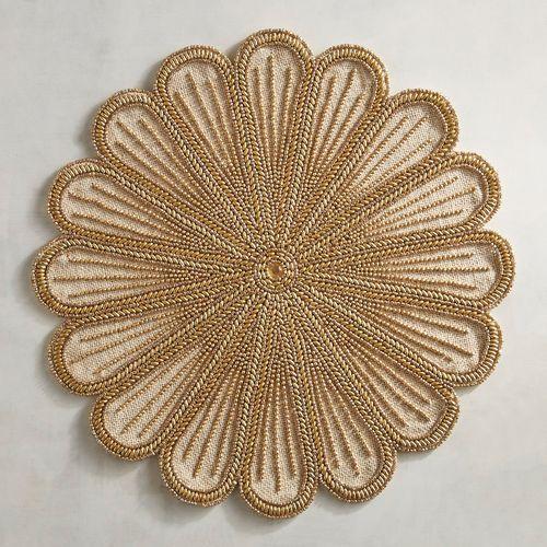 Golden Flower Burlap Beaded Placemat Pier 1 Imports Placemats Linen Placemats Table Linens
