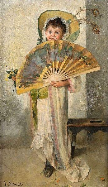 Emma Ekwall (1838 – 1925, Swedish) Girl With Fan: