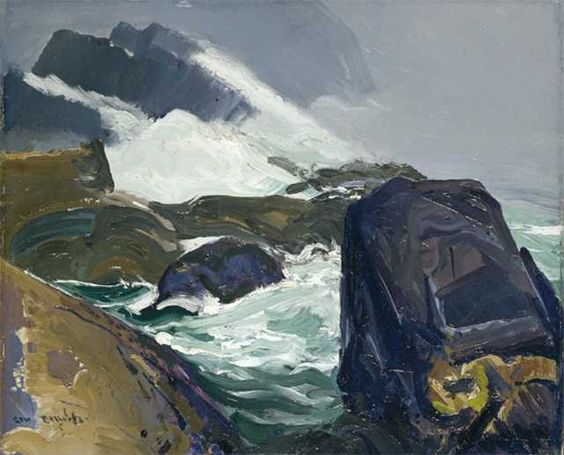 """""""Rock Bound,"""" George Wesley Bellows, 1913, Oil on panel, 18 x 22"""", Private collection."""