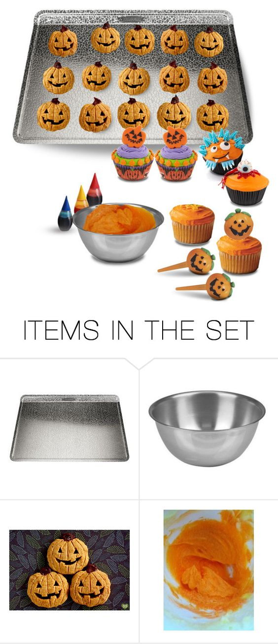 """""""Em & Mo Got Together While Fred Was intent Upon His Carving & Made Pumpkin Cookies & Cupcakes…the Little Girls Insisted They Needed Purple Icing, Em Made Richie a Monster & Fred Arrived in Time to Make Himself an Eyeball, But Most Were Plain Orange"""" by maggie-johnston ❤ liked on Polyvore featuring art"""