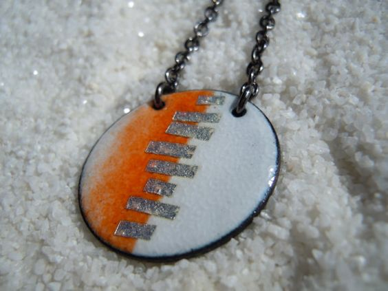 Stitches Pendant, Orange and White Jewelry, Enamel Jewelry, Copper Enamel