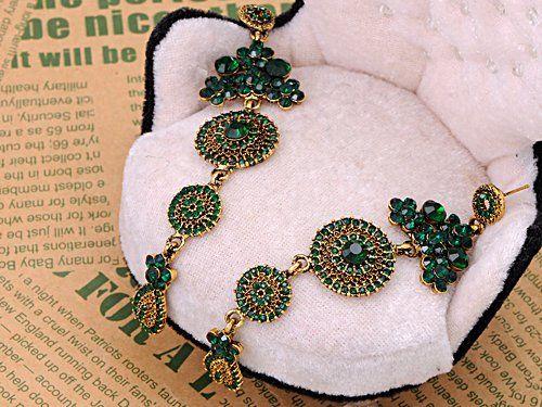 Asia Ethnic Tribal Design Emerald Crystal Rhinestone Flower Dangle Drop Earrings: Amazon.co.uk: Jewellery