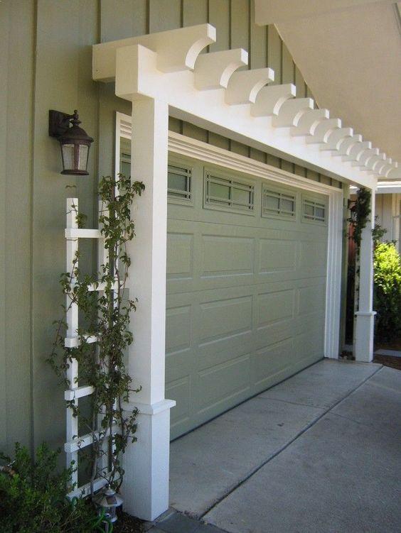 Garage Door Arbor - great way to increase curb appeal