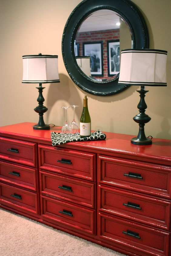 Thrift store find becomes The Red Dresser.  With a link to a glazing tutorial.
