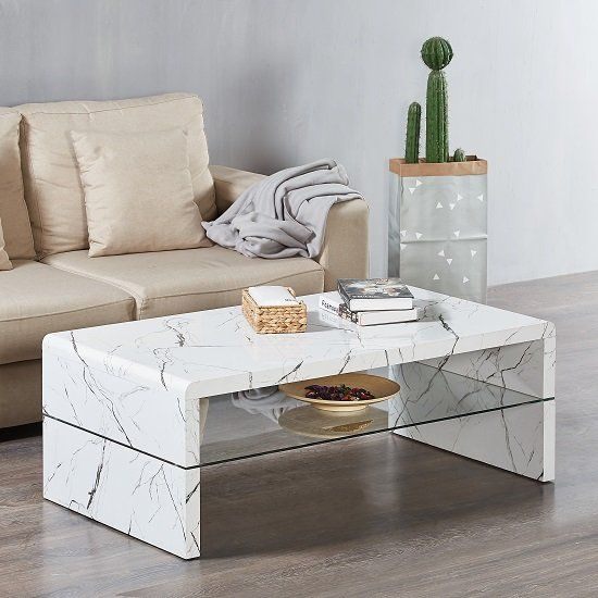 Lola Coffee Table Rectangular In Glossy White Marble Finish With Glass Undershelf M In 2020 White Living Room Tables White Coffee Table Living Room Coffee Table White