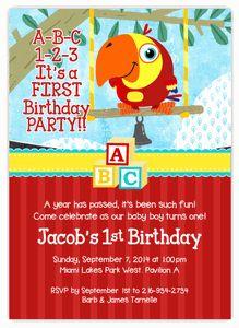 BabyFirstTV VocabuLarry on Swing First Birthday Party Invitation