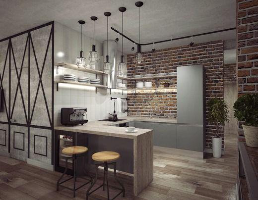Кухня - гостиная в стиле лофт. Гостиная