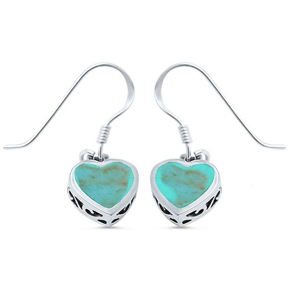 Green Turquoise Heart .925 Sterling Silver Dangle Drop Earring #Unbranded #DropDangle