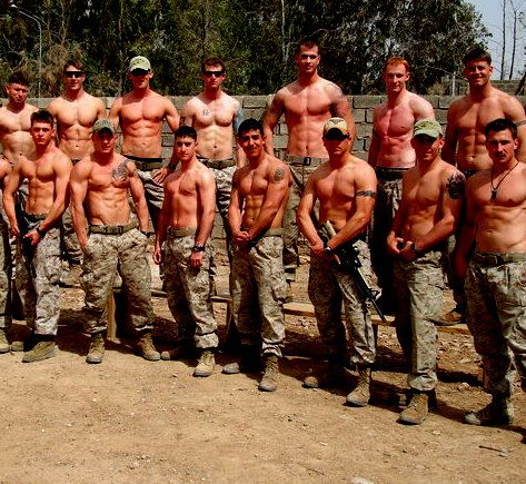 Just a couple of Marines without shirts... Holy abs!