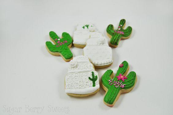 White Desert Wedding - Arizona- Cactus Sugar Cookies - wedding cake - 1 Dozen - Country Chic - Customizable - Personalized - Wedding favors