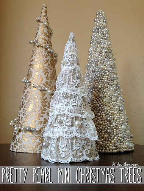 Pretty Pearl Mini Christmas Trees - so easy - a styrofoam form then lace, decorative fabric, some sparkle and a little imagination.: