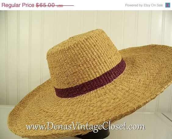 50% Off Summer Clearance Ladies Vintage Floppy Brim Straw Hat Size Small