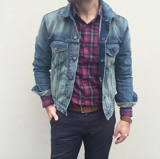 classics denim jacket chinos plaid shirt menswear mens fashion mens style style. Black Bedroom Furniture Sets. Home Design Ideas