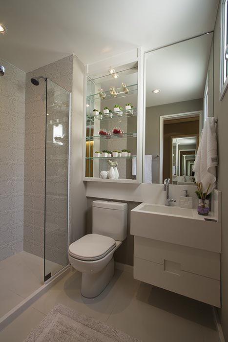 Banheiro da suite do apartamento de 3 dormitórios do Follow  Decorados Tibér -> Quanto Custa Armario De Banheiro Planejado