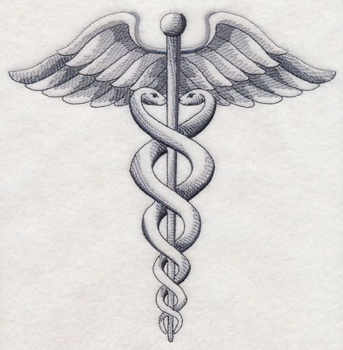 Caduceus-MEDICAL-SYMBOL-SKETCH-SET-OF-2-HAND-TOWELS-EMBROIDERED-by-laura: