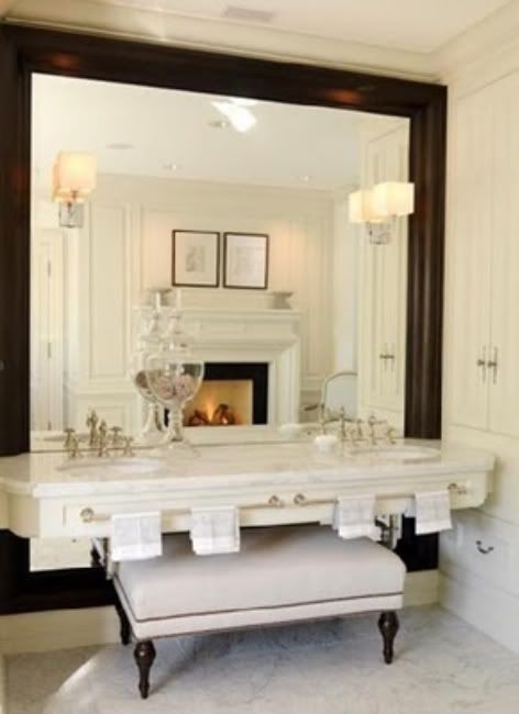 raised sink console with bench underneath  large mirror    La Dolce Vita   Home  bath    Pinterest   Mirror walls  La dolce vita and Vanities. raised sink console with bench underneath  large mirror    La