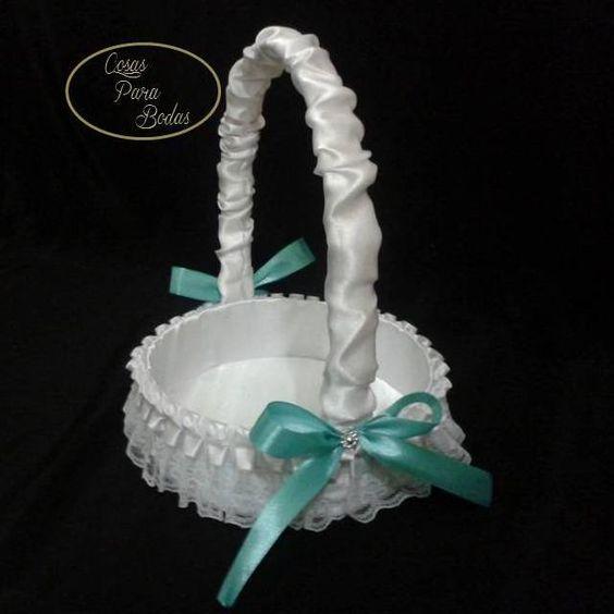 CE_83 Cesta Blanca Tiffany #bodas para arras anillos o petalos