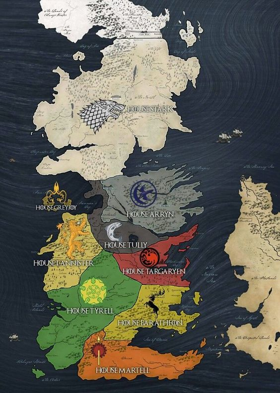 GoT Game of Thrones Westeros map of all the Houses. Stark, Lannister, Tyrell, Martell, Baratheon, Arryn, Mormons, Tully, Targaryen, Greyjoy. #got7 #got #got8 #gameofthrones #gotmap