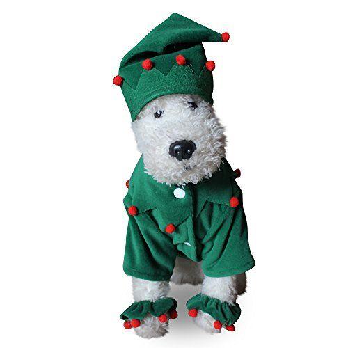 Worderful Dog Costume With Hat Santa Christmas Xmas Elf Pet