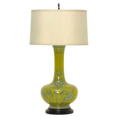Bungalow 5 Cordova Table #Lamp Hand Painted Porcelain Chartreuse #lighting #interiordecorator #decor #design #interiors