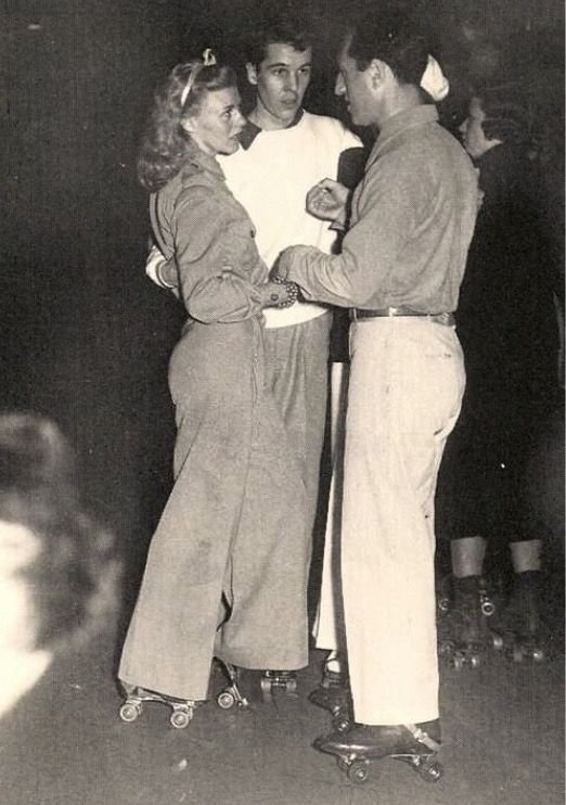 Ginger Rogers, Alfred G. Vanderbilt and Ira Gershwin at a roller skate party 1937:
