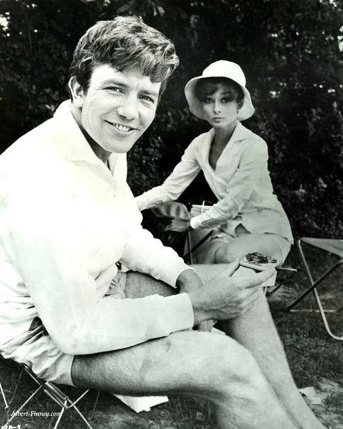Audrey Hepburn and Albert Finney on the set of Two For The Road, 1967