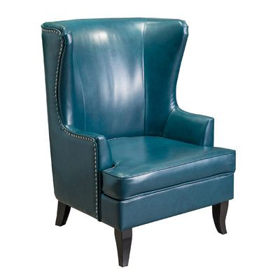 Home Loft Concepts Canterburry High Back Wing Club Chair Color: Teal