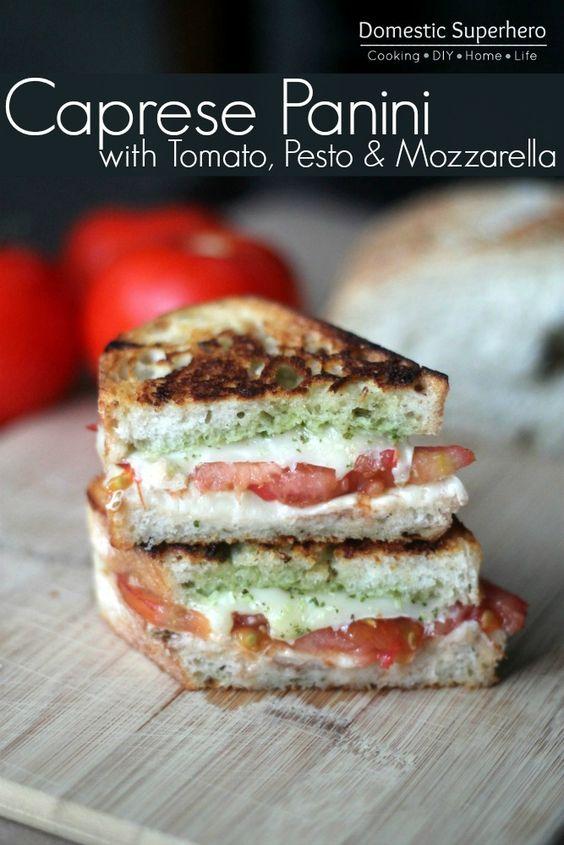 Caprese Panini with Tomato, Pesto Mozzarella Cheese - fresh tomatoes and basil from the garden, yum! #Healthy #Recipe