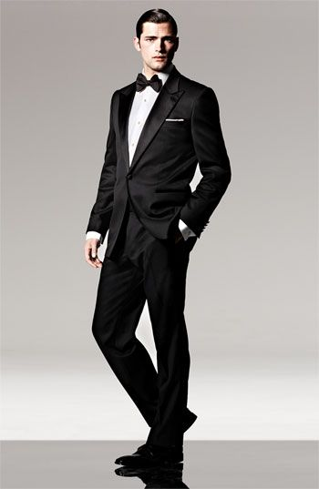 Boss black single button tuxedo tuxedo shirt nordstrom for Tuxedo shirt black buttons