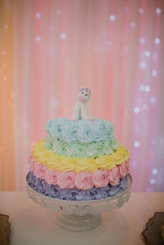 cake baby shower rainbow unicorn girl