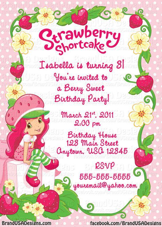 strawberry wedding invitations – Strawberry Shortcake Birthday Invitations
