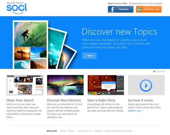 """Microsoft lançou dia 21, a rede social So.cl (pronuncia-se """"social""""), semelhante ao Facebook, a rede social tem foco em estudantes e assuntos acadêmicos: http://goo.gl/bxckI ."""