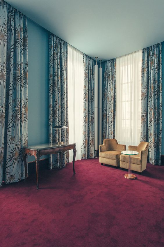 Curtains Ideas art deco curtains : Blue bedroom hotel suite design with Art Deco curtains and rich ...