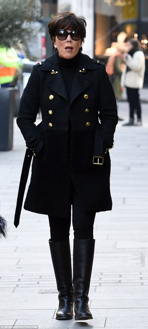 Black on black: Perhaps in an attempt to go unnoticed Kris wore a coloured coordinated out...
