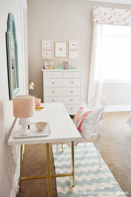 ghost chair + white ikea hack desk + turquoise chevron rug + white dresser via Sita Montgomery Interiors
