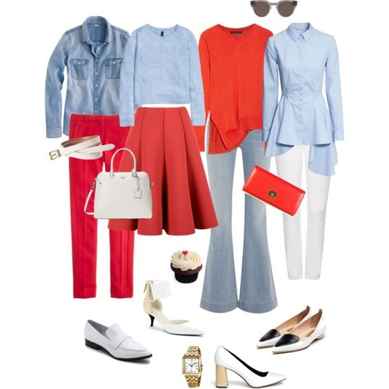 A fashion look from January 2015 featuring light blue long sleeve blouse, red sweater and long sleeve tops. Browse and shop related looks.