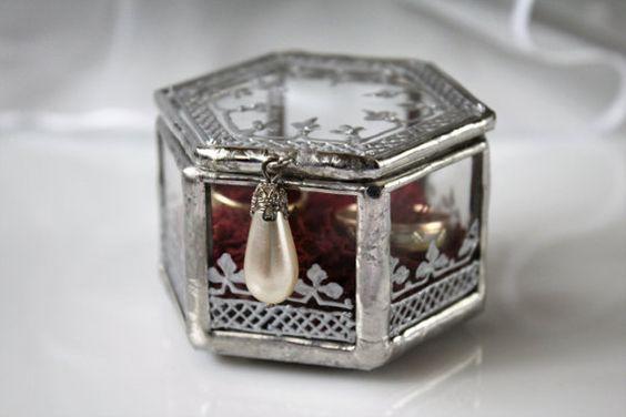 Silver Keepsake Box, Elegant Wedding Ring Box, Renaissance French Chic Jewelry…
