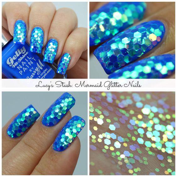 Mermaid Glitter Nails: