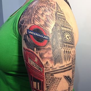 And this seriously intricate touristy tat. | Community Post: 15 Beautiful London-Inspired Tattoos You'll Fall Deeply In Love With