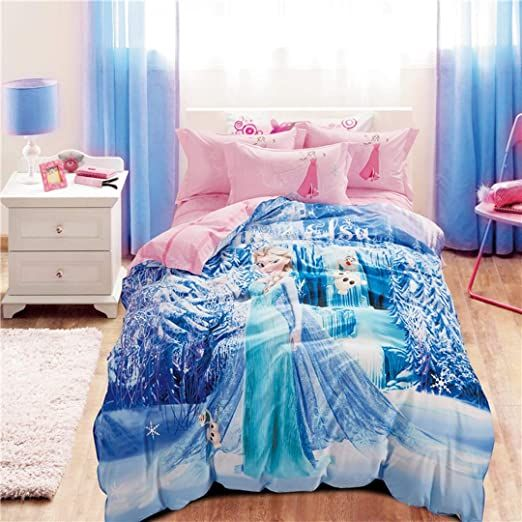 Casa 100 Cotton Kids Bedding Set Girls Princess Elsa Duvet Cover And Pillow Cases And Fitted Sheet Gi Frozen Girls Room Frozen Bedroom Frozen Inspired Bedroom
