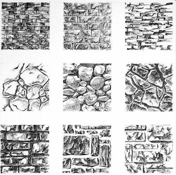 Textura De Piedra Ladrillos Pared Texture Drawing Drawing Exercises Drawings