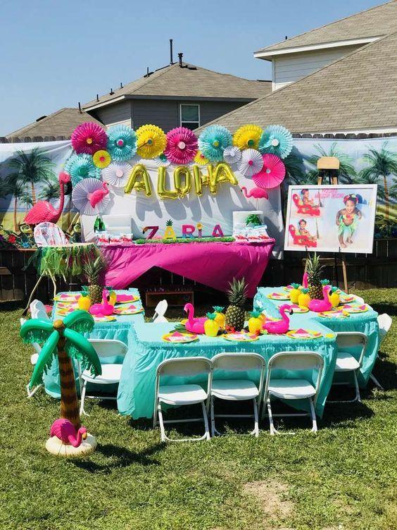 Pineapple Flamingo Luau Birthday Party Ideas Photo 2 Of 23 Kids Luau Parties Luau Birthday Party Kids Luau