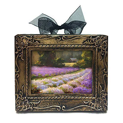 Lavender Farm Landscape at Sunset Miniature Antique Style Art Ornament By Karen Whitworth. This adorable lavender print makes a great gift, unique wine charm, ornament, or that perfect little spot of color in your home. Comes with a velvet drawstring gift bag. The handy easel back is great for counter top/desk/shelf or window sill display and the beautiful organza ribbon bow is for hanging this little work of art on your wall/wreath/tree/knob/etc, the possibilities are endless! The image...