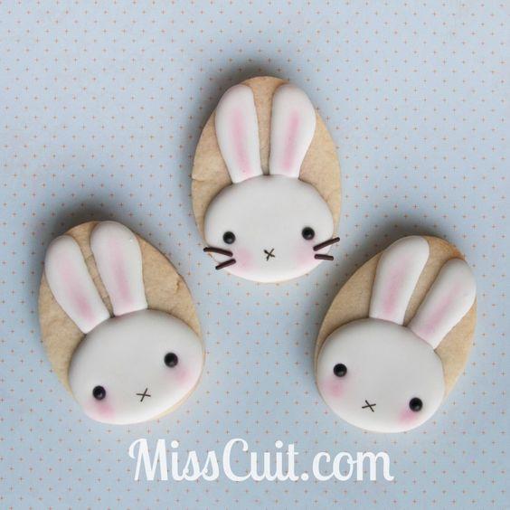 Tutoriel pour décorer un biscuit de lapin, simple et facile. Juste à temps pour Pâques.