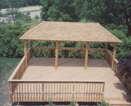 20 X 24 Freestanding Deck With 10 X 20 Pavilion Roof Material List Pergola Ideas For Patio Freestanding Deck Backyard Sanctuary