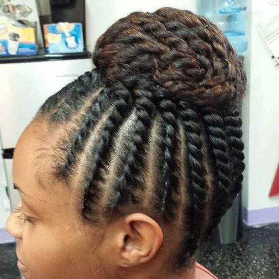 Simple but cute double strand twist and bun