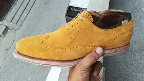 Men's Handmade Yellow Color Suede Shoes