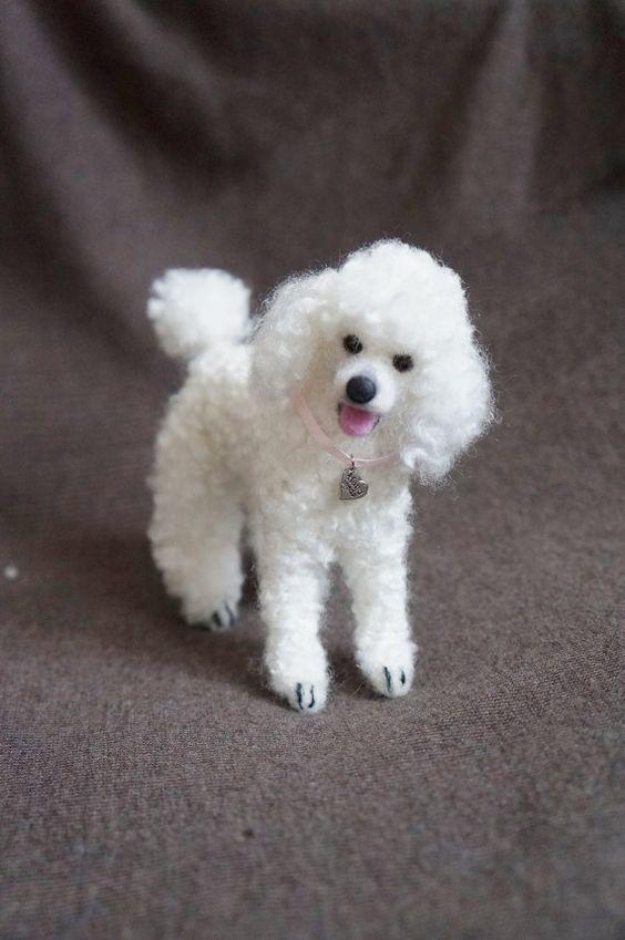 Personalizada de su mascota: Aguja fieltro caniche Perro lana