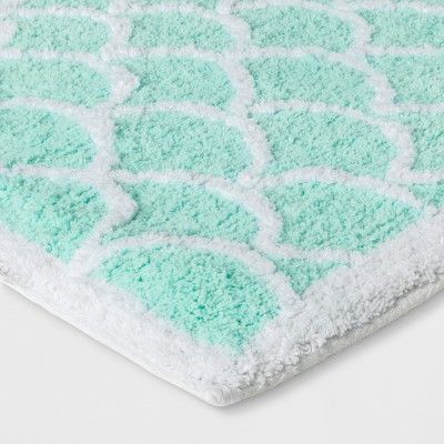 Mermaid Tail Bath Rug Crystalized Green Pillowfort Blue Green